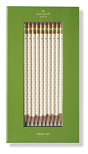 Kate Spade New York Wooden Pencil Set of 10, Gold Dot