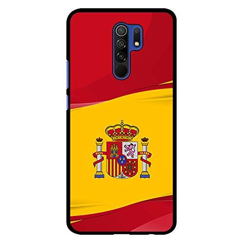 BJJ SHOP Funda Negra para [ Xiaomi Redmi 9 ], Carcasa de Silicona Flexible TPU, diseño : Bandera de España