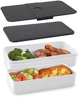 cloer 800S1-1 lunchlåda XXL BPA kapacitet 2,1 L (1,200 + 900 ml) bentolåda lunchvårdssystem vattentätt lock 2 olika tennst...