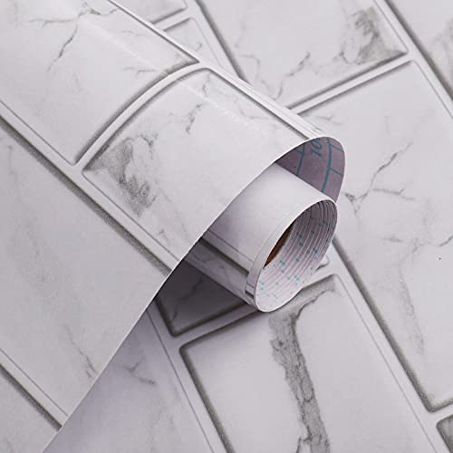 Marble Paper Subway Tile Peel and Stick Backsplash Granite Gray/White Peel and...