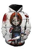 MingoTor Hombre Mujer para Child'S Play Chucky Chaqueta con Capucha 3D Pulóver con Capucha Chaqueta de Sudor Hoodie Disfraz Traje de Cosplay Ropa Unisexo