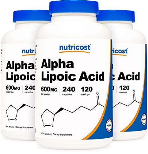 Nutricost Alpha Lipoic Acid - 600mg Serving 240 Caps (3 Bottles)