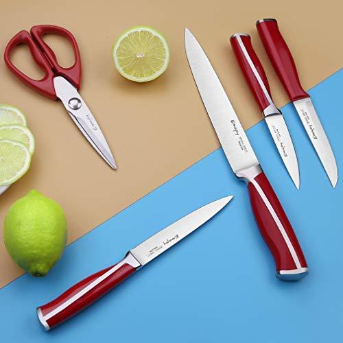 Emojoy Knife Set, 15-Piece Kitchen Knife Set with Block Wooden, Red Handle for Chef Knife Set, Kitchen Knives Sharpener and Scissors German Stainless Steel
