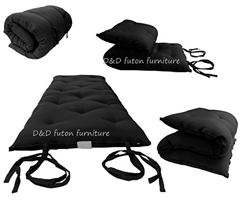 D&D Futon Furniture Queen Size Black Cotton/Foam/Polyester Traditional Japanese Floor Rolling Futon Mattresses, Yoga Meditation Mats, Beds 3 x 60 x 80