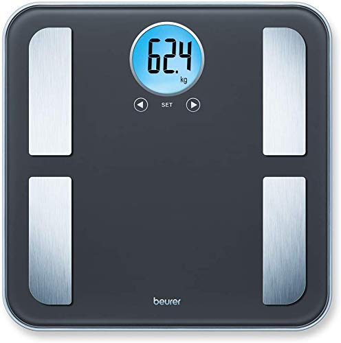Beurer BF 195 Pèse-personne impédancemètre en verre pour la détermination de la graisse corporelle, de la masse musculaire et des besoins en calories, jusqu'à 180 kg