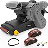 Jellas, Belt sander with 12 abrasive belts 75 x 533 mm, 6 speeds 360 - 560 rpm, 1000 W with microfilter container and 3 m for sanding, painting and polishing