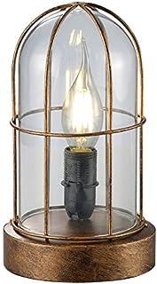 Trio Birte - Lámpara de sobremesa, color antique cobre y cristal transparente
