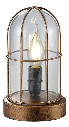 Lámpara de sobremesa, color antique cobre y cristal transparente