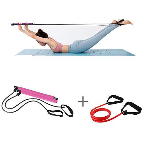 ZHLONG Pilates Kit YogaTension manijas Banda de Entrenamiento Estiramiento palillo de Culturismo Gimnasio en casa Paquete Pie Loop Fisioterapia Culturismo,Pink