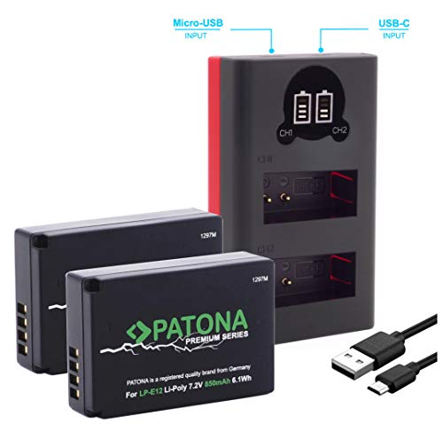 PATONA Premium 2X Ersatz für Akku Canon LP-E12 (850mAh) mit Infochip und Mini Dual Ladegerät 18752 (USB-C oder Micro-USB)