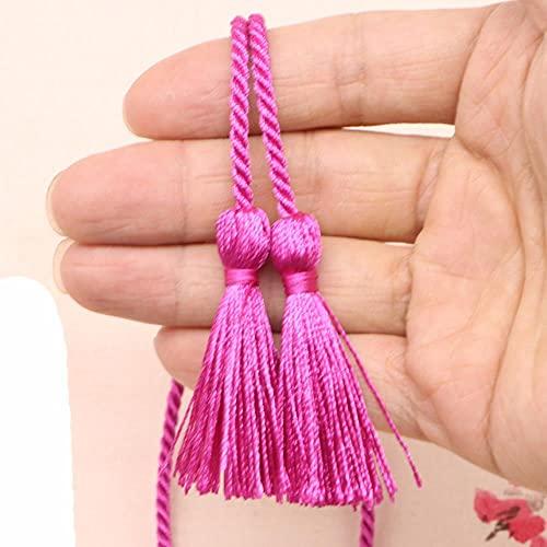 2 piezas de dos extremos de cuerda larga con borlas, flecos, manualidades, decoración de textiles para el hogar, ropa, cuerda de seda, cuerda de cinta, borlas colgantes, borlas de color rojo rosa