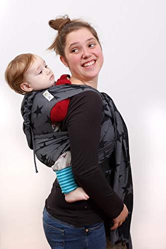 Madame Jordan Wrap Conversion Mei Tai 'City of Stars grey' - Tragehilfe ab Geburt bis ca. 2 Jahre, Ergonomische Tragehilfe für Bauch, Rücken, Hüfte