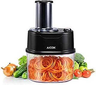 Spiralizer Aicok Electric Spiralizer Spiral Slicer with 120 Watt Motor and 2 Stainless Steel Blades for Spiral Cutting Vegetables Noodle Maker Zucchini, Carrots, Cucumbers, Potatoes and More, 1.5 L
