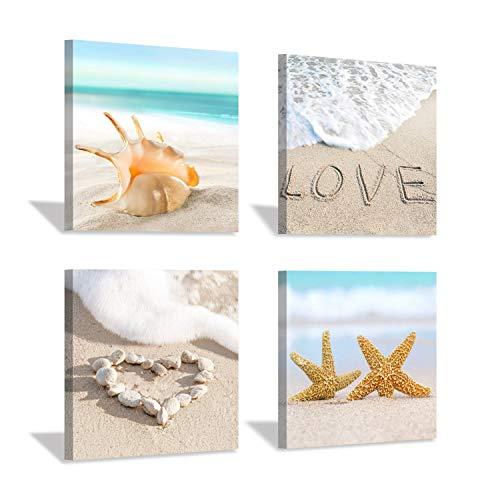 Hardy Gallery Beach Seashell Picture Canvas Print: Coastal Starfish Artwork Painting Wall Art for Bedroom (12''x12''x4pcs)