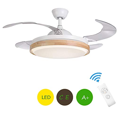 Ventilador de techo con luz, LED Ventilador de Techo con lámpara 3 velocidades y mando a distancia 4 palas de abs Ventilador de techo oculto 107cm de diámetro [Clase de eficiencia energética A++]