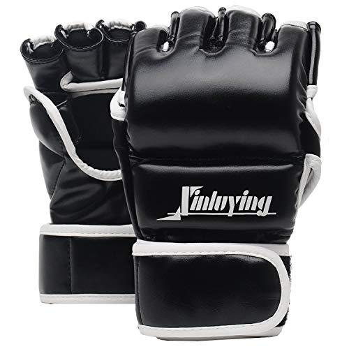 Xinluying MMA Boxhandschuhe 30mm Polsterung Kampfsport Boxsack Sparring Freefight Training Grappling Sandsack Punchinghandschuhe Herren Damen Leder