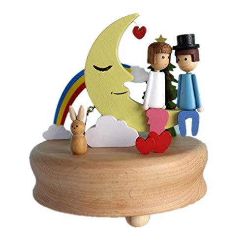 Chonor Escenarios Innovadores Caja de Música de Madera, Primo Creativo Manivela de Madera Artesanías Caja de Música - Amante Luna - Mejor Regalo y Decoraciones Idea para Cumpleaños, Navidad