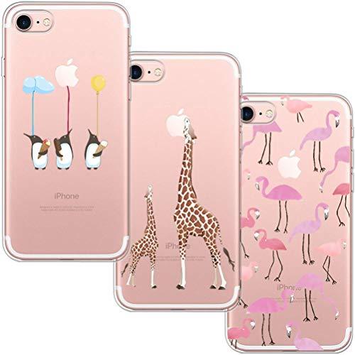 [3 Pack] Funda iPhone 7, Funda iPhone 8, Funda de Silicona Blossom01 Ultra Suave Funda TPU Silicona con Dibujo Animado Lindo Para iPhone 7 / 8 - Flamingo & Jirafa & Pingüino