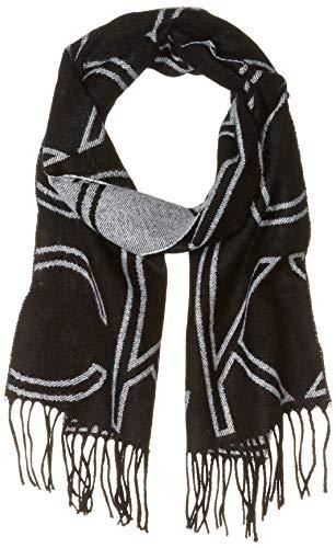 Calvin Klein Damen Large Logo Woven Scarf Winter-Schal, schwarz, Einheitsgröße