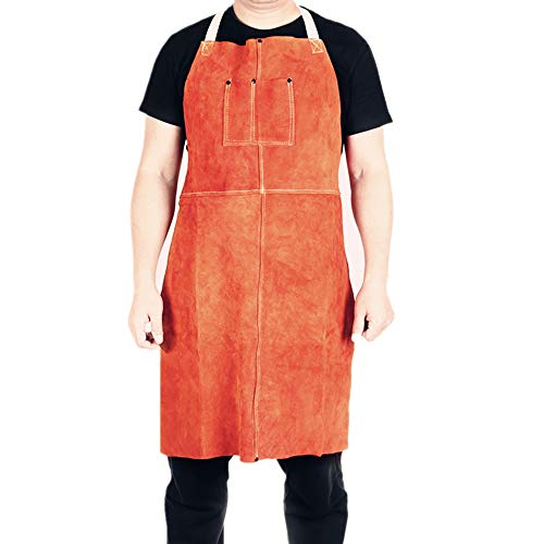 "EULANGDE Premium Brown Split Cowhide Leather Heat & Flame Resistant Heavy Duty Welding Bib Apron, Adjustable M to XXXL for Men & Women (24"" Width x 48"" Length)"