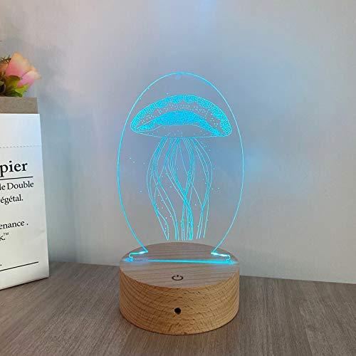 3D piccola luce notturna LED yakli lampada stellato fondo legno tocco telecomando regalo creativo Toccare il modello Meduse.