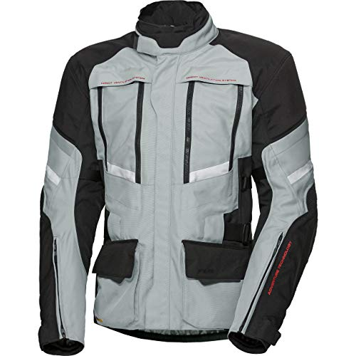 FLM Motorradjacke mit Protektoren Motorrad Jacke Reise Textiljacke 2.0 grau/schwarz L, Herren, Enduro/Reiseenduro, Ganzjährig