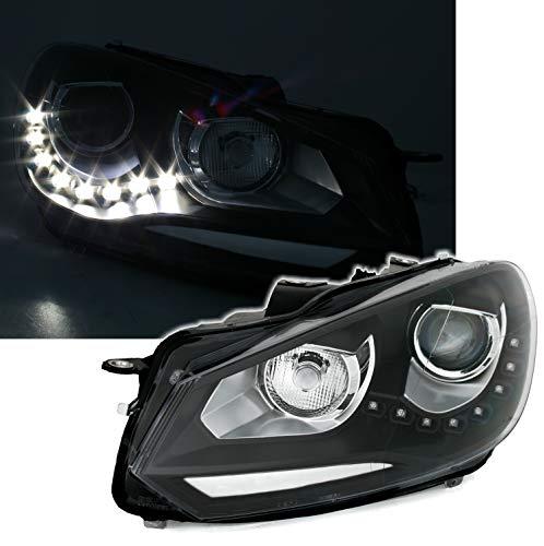 AD Tuning Scheinwerfer Set in Schwarz mit LED Tagfahrlicht TFL LWR H7