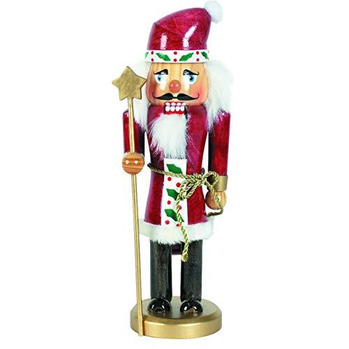 OBC-Kunsthandwerk Nussknacker Deko Figur Weihnachtsmann klein rot / 25 cm/Nussknacker Holzfigur/Handbemalt im Erzgebirge Stil/weihnachtlich dekorieren
