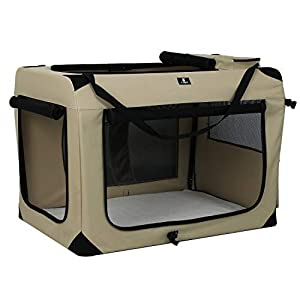 X-ZONE PET 3-Door Folding Soft Dog Crate, Indoor & Outdoor Pet Home, Multiple Sizes and Colors Available (32-Inch, Rice White)