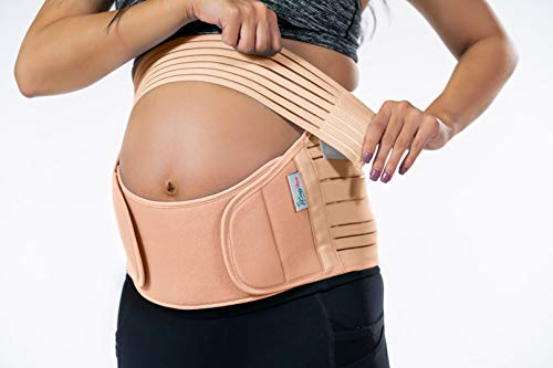 Belly Band for Pregnancy, Pregnancy Belt - Maternity Belt for Back Pain. Prenatal - Pregnancy Support Belt with Adjustable/Breathable Material. Back Support for Pregnant Women. Peach Color/Size S