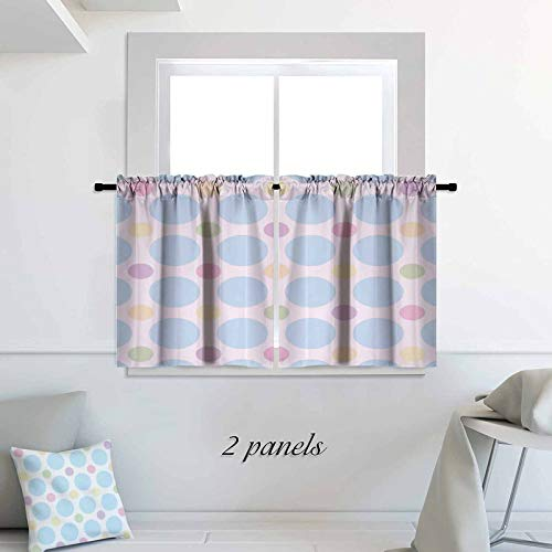 ScottDecor Seafoam Small Window Tiers Colorful Pastel Polka Dots Abstract Arrangement Children Themed Circular Pattern 30 x 36 inch 2 Panels Rod Pocket Cafe Tier Curtains Pair