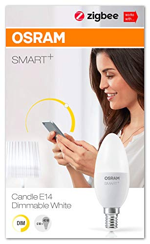 OSRAM Smart+ Lot de 4 Ampoules LED Connectées - Culot E14 - Forme Flamme - Dimmable - Blanc Chaud 2700K - 6W (équivalent 40W) - Zigbee - Compatible Android & Amazon Alexa