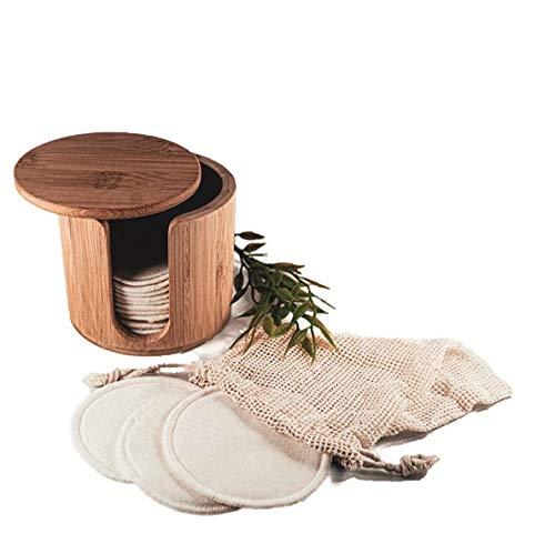 16 wiederverwendbare Abschminkpads + Box | Aus 100% Bambus Baumwolle inkl. Wäschenetz und Bambus Box-Spender | Make-Up Entferner zur Gesichtsreinigung | Umweltfreundlich Waschbar Vegan Nachhaltig