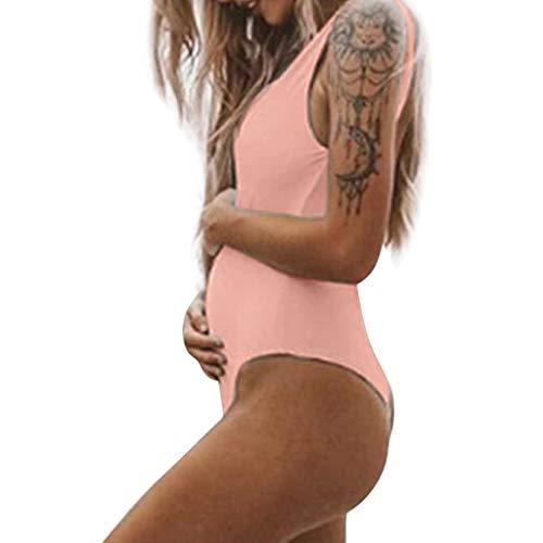 VECDY Bañadores Premama Talla Grande, Moda Suave Bikinis Mujer 2019 Push Up Maternidad Tankinis Verano Enfermería Sólido Traje De Baño Ropa Embarazada Ajustable Monokini (Rosa,M)