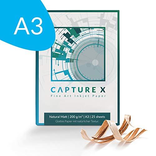 CAPTURE X Natural Matt, 200g/m², A3, 25 Blatt Box - natürliche Struktur - Fine Art Paper