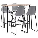 vidaXL Set da Bar 5 pz Moderno Elegante Robusto Tavolo e Sgabelli Alti con Poggiapiedi Angolo Cucina Telaio in Metallo in Plastica Grigio