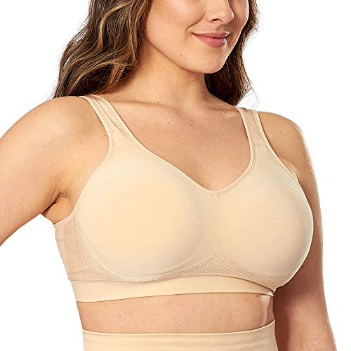 SHAPERMINT Comfort Wirefree High Support Bra for Women Small to Plus Size Everyday Wear, Exercise and Offers Back Support Nude