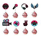 Tik Tok CupCake Topper Party Decorations For Kids Birthday Party Supplies Short Video Music Party (24PCS)