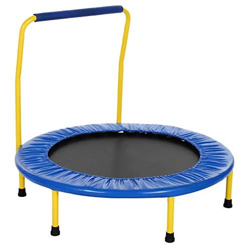 RIYIFER Trampolín para Exteriores e Interiores para niños con reposabrazos Mini trampolín Plegable, Trampolín de Fitness Carga máxima de 150 Libras,Azul,32