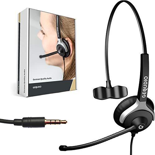 GEQUDIO Headset mit 3,5mm Klinke kompatibel mit FritzFon C6, MacBook, Smartphone, Speedphone, Notebook, PC, Laptop - Kopfhörer & Mikrofon mit Ersatz Polster - besonders leicht 60g