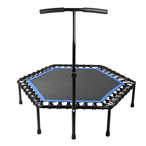 Fitness trampoline trampoline, zeshoekige fitnessruimte voor volwassenen met 150 kg, professionele elastische snaar entertainment tool voor indoor oefeningen (blauw)
