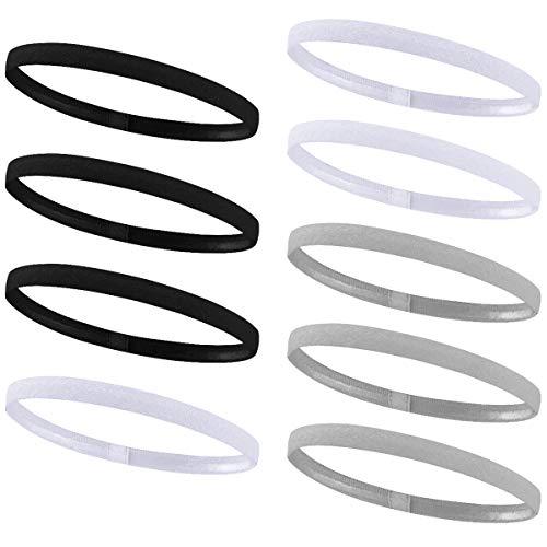 9 Stück Haarband Sport Anti Rutsch, Fitness-Stirnbänder Schwarz Elastisch für Herren Damen Kinder