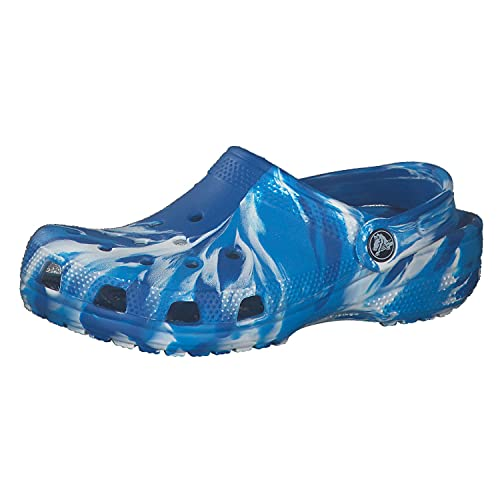 Crocs Kids Classic Marbled Tie Dye Clog   Slip On Shoes for Boys and Girls, Bright Cobalt/White