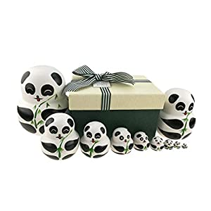Apol Set of 10 Big-Belly Wooden Handmade Panda Bear With Bamboo Nesting Dolls Matryoshka Russian Doll in a Exquisite Gift Box With Bow For Kids Toy Home Decoration New Year Christmas Gift