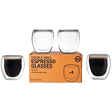 Double Wall Espresso Cups - Set of 4 Insulated Coffee Shot Glasses 3 oz