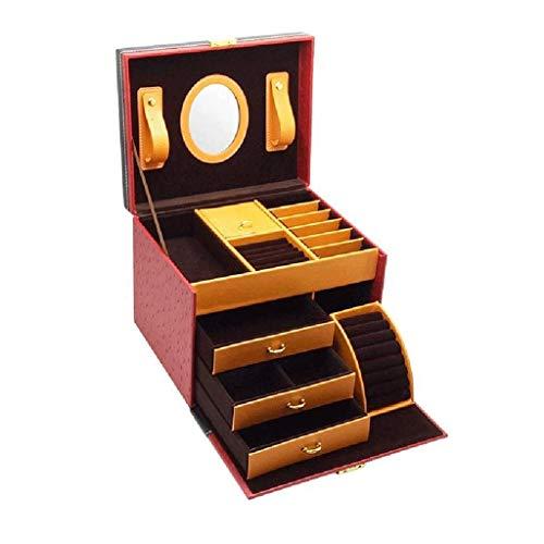 FFLJT Joyero joyero -Cuero Multi-Grid Joyas de la Caja de almacenaje de Tres Capas Caja del Anillo del Collar de múltiples Funciones de la joyería, Rojo (Color : Red)