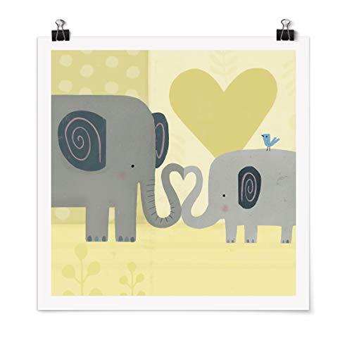 Bilderwelten Poster Imprimé Mum and I - Elephants Carré Fini satiné Autocollant 90 x 90cm