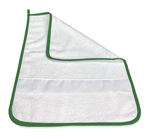 Toalla de playa para guardería, bordado, de color liso, con tela Aida para bordar el nombre, verde