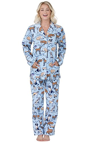 PajamaGram Flannel Pajamas Women Soft - Women's Flannel Pajamas, Blue, 1X, 16-18
