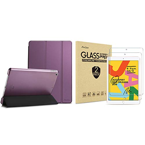 ProCase iPad 10.2 Case 2019 iPad 7th Generation Case (Purple) Bundle with 2 Pack iPad 10.2 7th Gen Tempered Glass Screen Protector